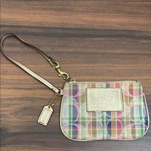 Coach madras signature plaid wristlet wallet pouch